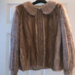 Brown sweater mink fur bomber jacket Alaskan fur L